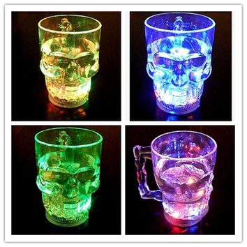 LED Colorful Glowing Skull Head Cup Flash Water Induction Light Cup Beer Cup Cool Drink Wine Glasses