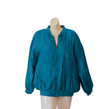 Silk Bomber Jacket Silk Windbreaker Women Silk Jacket Women Bomber Jacket 90s Bomber Jacket 80s 90s Windbreaker 90s Wind Breaker Jacket Teal