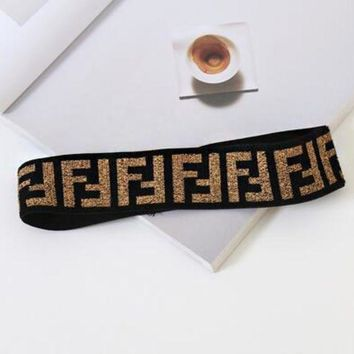 FENDI GUCCI Gym Sport Running Knit Headwrap Headband Warmer Head Hair Band Black