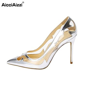 Women Thin High Heel Pointed Toe Shoes Woman New Design Fretwork Pumps Fashion Sexy Heeled Footwear Party Shoes Size 35-46 B145