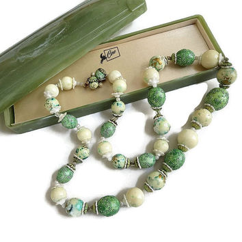 Vintage Lucite Necklace signed CORO Pegasus in Cream & Greens Sugar Speckled with Lucite Case
