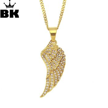 Stainless Steel Stylish Gothic Chief Native American Indian Feather Punk Pendant Necklace gift Full Iced Out Rhinestone Jewelry
