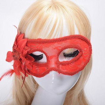 Venice Masquerade Mask Gold Cloth Flower Feather Yarn Lace Side With Translucent Halloween Mask