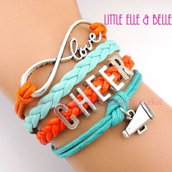 Infinity Wish Charm Bracelet, Love, Infinity, Megaphone, Cheer, Cheerleading, Cheerleader, Orange, Turquoise, Christmas Gift,Friendship Gift