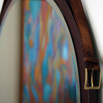 "Round Mirror. Mid-century Modern Mirror. Danish Mirror. Vintage Leather Mirror. 24"" x 24"""