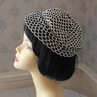 Vintage Black and White Knit Lined Hat