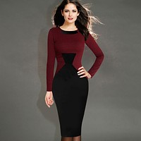 Vfemage Womens Elegant Vintage Houndstooth Colorblock Tunic Wear To Work Business Casual Party Bodycon Pencil Dress 461