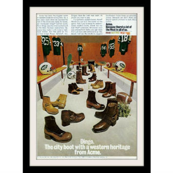 "1973 DINGO Boots Ad ""New York Jets Football"" Vintage Advertisement Print"