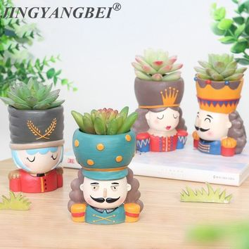 Cool 4pcs/set Nutcracker Doll Flower pot  Resin Succulent Plant Pot King Queen Flower Pot Fairy Garden Bonsai PlanterAT_93_12