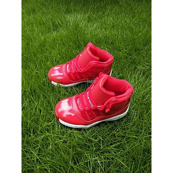 Kids Air Jordan 11 Red Sneaker Shoe Size US 11C-3Y