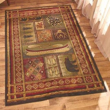 "Area Rug Lodge Bear Fish Pine Cone Canoe Cabin Home Decor 63"" x 86"" Country NEW"