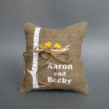Wedding rustic natural linen Ring Bearer Pillow yellow birds on white birch tree and linen rope