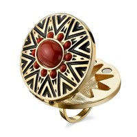 House of Harlow 1960 Jewelry Tribal Ring with Coral Cabochon