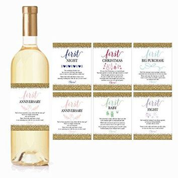 6 Wedding Milestones Gift Wine Bottle Labels or Sticker Covers Bridal Shower Bachelorette Engagement Party Present Perfect Best Registry For Bride To Be Firsts For The Newlywed Couple Basket Ideas