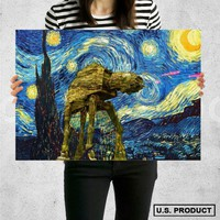 Poster Print Star Wars Starry Night Wall Decor Canvas Print - halawatani.com