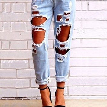 New Europe And America Fashion Pants Slim Hole Sexy Causal Pencil Solid Skinny Ripped Lady Denim Jeans = 1929835652