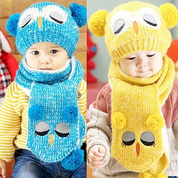 Baby Hat Caps Winter Hats For Children Girls Boys Kids Owl Hat with Scarf Set Cotton Warm Knitted Children's Hats Baby Cap