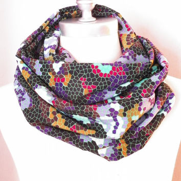 Circle Scarf, Infinity Scarf, Black Mosaic Print, Emerald Green, Purple, Gold, and Wine Red