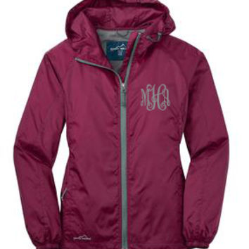 Monogrammed Black Cherry Green Eddie Bauer Windbreaker Jacket