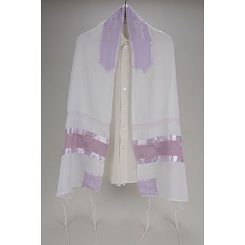 Violet Sheer with Floral Decoration Prayer Shawl for Women