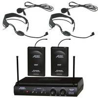 Audio2000s 6032uf UHF Dual Channel Wireless Microphone with Two Headband Headset & Two Lapel (Lavalier) Mic