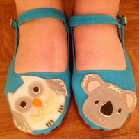 Koala & Owl Turquoise Cotton Mary Janes