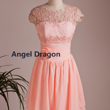Angel Dragon New Year Party Lace Chiffon Prom Dresses Short Cocktail Gowns