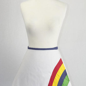 Vintage Rainbow Applique Wrap Skirt Cute Tennis Mini Skirt 1970s Novelty