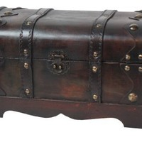 Quickway Imports Small Pirate Style Wooden Treasure Chest