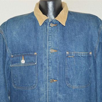 90s Ralph Lauren Polo Denim Lined Barn Coat Jacket Large