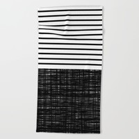 platno (black stripes) Beach Towel by Trebam