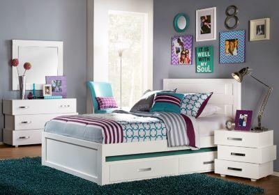 quake white 3 pc full panel bed from rooms to go room decor. Black Bedroom Furniture Sets. Home Design Ideas
