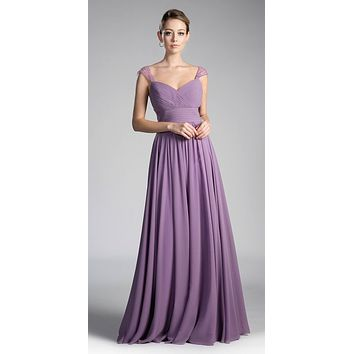 Beaded Cap Sleeves Sweetheart Bridesmaid Dress Marble Chiffon