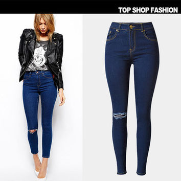 Hot Popular Women High Waisted Jeans Jeans Denims Trousers Pants