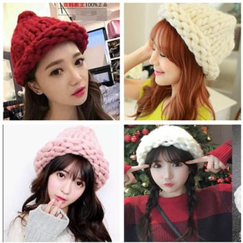 Women Winter Warm Hat Handmade Knitted Coarse Lines Cable Hats Knit Cap Beanie Crochet Caps Women Accessorie GPD8333