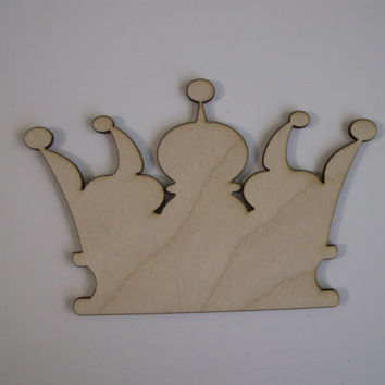 Crown Wood Shapes, Laser Cut Wood, Ready to Paint Woodcraft, Nursery Wall Art, Ornaments, Sorority Crafts, 6 PIECES