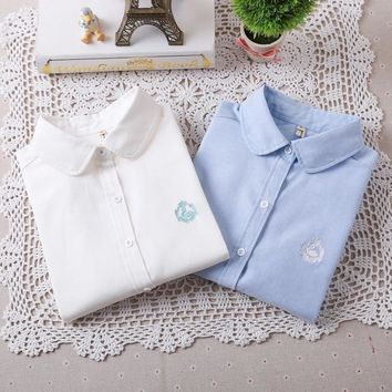 2016 Autumn And Winter Fashion Women Casual Long Sleeve Shirt Little Swan Embroidered Oxford Tops Spring Ladies White Blue Shirt