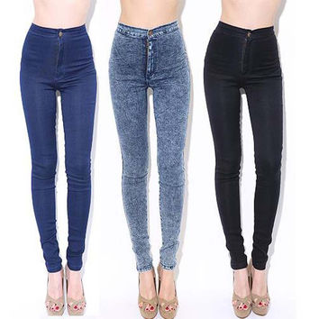 Plus XXL 2015 Femme Jegging American Women Skinny Leggings High Waist Slim Jeans Stretch Black Denim Cotton Washed Pencil Pants