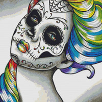 Modern Cross Stitch Kit By Carissa Rose 'Spectrum Series Rainbow' - Sugar Skull