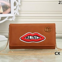 """Gucci"" Women Fashion Personality Letter Red Lip Embroidery Metal Chain Single Shoulder Messenger Bag Small Square Bag"