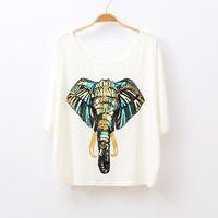 Colorful Elephant T-Shirt for Women 052516 from AnnaliseSBoutique