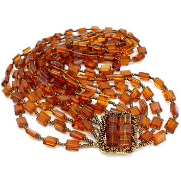 Vintage 6 Strand Amber Glass Bead Necklace 16""