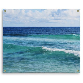 Quintana Roo - Wall Tapestry, Blue and Green Coastal Ocean Waves, Beach Surf Style Backdrop Accent Tapestry Hanging. In Small Medium Large