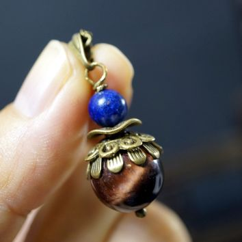 Red Tiger's Eye Necklace - Modern Antique Red Tiger's Eye Pendant - Thread Tiger's Eye Necklace Lapis Charm Bronze Ball Chain