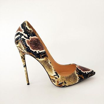 Snake Printed  Pointed Toe High Heels Ladies Shoes