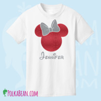 Personalized Glitter Minnie Mouse Monogrammed Shirt/ Disney Trip Shirt