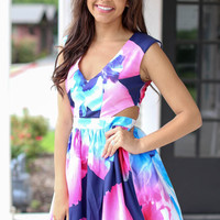 Flare for You Dress - Navy, Pink
