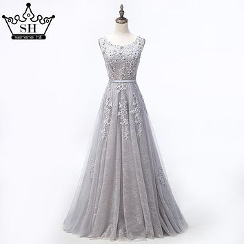 Grey Sexy Backless Tulle A-Line Evening Dress Beading Appliques Sleeveless Evening Party 2017 Robe De Soiree Serene Hill