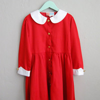 Red and White Girls' Vintage Nautical Dress Peter Pan Collar