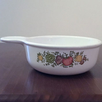 "Vintage 1970s Corning Ware ""Spice of Life"" Grab-it Bowl / Retro Soup Bowl / Ramekin / Handled Bowl"